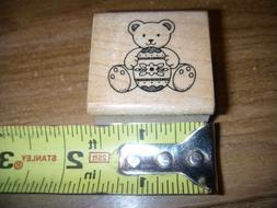 1 NEW HERO ARTS  RUBBER STAMP  BEAR WITH EASTER EGG   MOUNTE