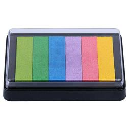 1PC Gradient Rainbow Ink Pad Rubber Stamp Ink Pad Washable f