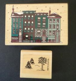 2 Vintage Rubber Stamps-Winter Themed-Inkadinkado & Stampin'