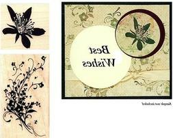 2 Inkadinkado Wd Mtd Rubber Stamps~ FLORAL SPRAY & BLOSSOM~N