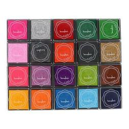 20 Color DIY Colorful Ink Pad Stamp Inkpad for Rubber Stamp