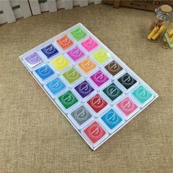 24 Colors Stamp Craft Oil Based DIY Ink Pads For Rubber Stam