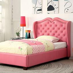 247SHOPATHOME IDF-7016PK-F Childrens-Bed-Frames, Full, Pink
