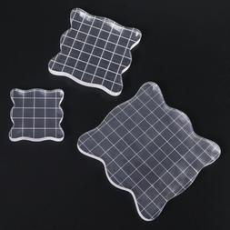 3pcs Acrylic Clear Rubber Stamping Blocks Set with Grid Esse