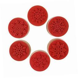 6 Pieces Christmas Snowflake Wooden Rubber Stamp Christmas T