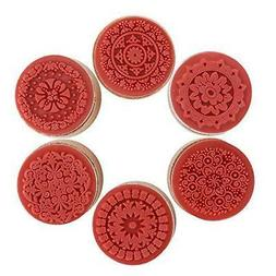 DECORA 6 Pieces Floral Pattern Round Wooden Rubber Stamp for