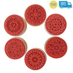 Decora 6pcs Floral Pattern Round Wooden Rubber Stamp