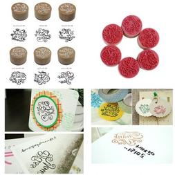 DECORA 6pcs Greeting Round Wooden Rubber Stamp(Miss you/For