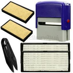 6PCS Rubber Stamp Self Inking Kit Business Name Address Lett