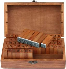 70pcs Alphabet Letter Number Wood Rubber Stamps Set Wooden B