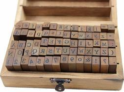 70pcs Alphabet Stamps Vintage Wooden Rubber Letter Number an