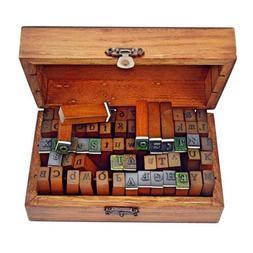 Ning store 70pcs Alphabet Stamps Vintage Wooden Rubber Lette