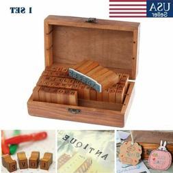 70Pcs Letter Alphabet Number Wood Rubber Stamps Set Wooden B