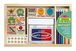 Melissa & Doug Wooden Classroom Stamp Set With 10 Stamps, 5
