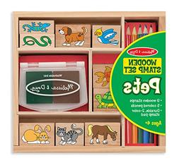 Melissa & Doug Wooden Stamp Set: Pets - 9 Stamps, 5 Colored