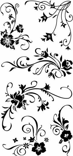 Inkadinkado Acrylic Clear Floral Flourish Stamp Set