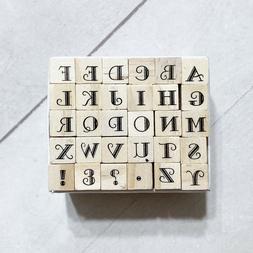 "Alphabet Letters Rubber Stamp Set 30 Mini 1/4"" Wood Mounted"