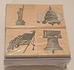 America's Theme Hero Arts LL773 Package of 4 Rubber Stamps