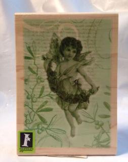 Inkadinkado Angel holding Garland Christmas holly text Colla