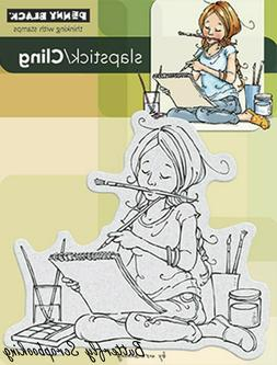 Art Artist Girl Cling Style Unmounted Rubber Stamp PENNY BLA