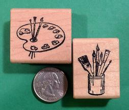Artist's Palette and Brushes, Wood Mounted Rubber Stamp Set