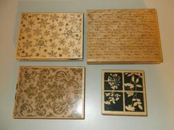 Stampabilities Background Rubber Stamp Lot of 4 Faded Text T