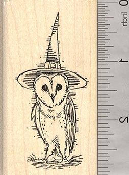 Barn Owl Witch Halloween Rubber Stamp, Wearing Hat