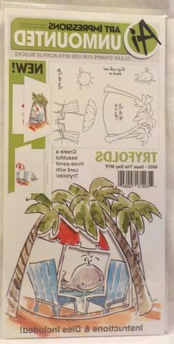 Beach Day Tryfolds Clear Unmounted Rubber Stamp Set ART IMPR