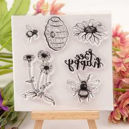 Bee Happy Silicone Clear Stamp Transparent Rubber Stamps DIY