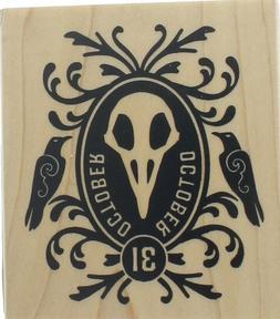 Inkadinkado Beetlejuice Mask October 31 Crows  Wooden Rubber