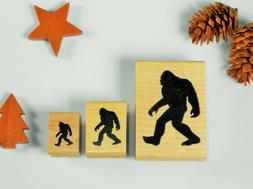 Bigfoot Silhouette Mounted Rubber Stamp 3 Sizes, Sasquatch,