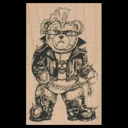 BIKER BEAR Rubber Stamp MOTORCYCLE BEAR Wearing Leathers and