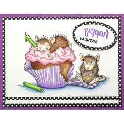 Birthday Cupcake HOUSE MOUSE Wood Mounted Rubber Stamp STAMP