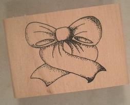 Bow Wood Mounted Rubber Stamp, Gift, Present, Decoration, Ri