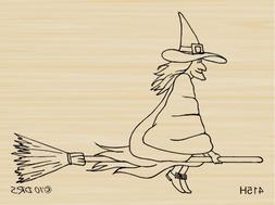 Broomstick Stella Witch Rubber Stamp By DRS Designs