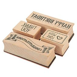 4-Piece Card Making Stamps Set - Wood Mounted Rubber Stamps