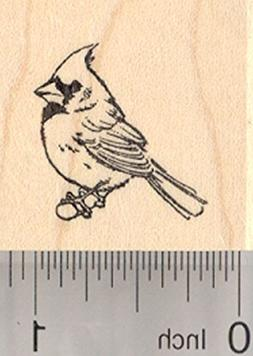 Cardinal Bird on Branch Rubber Stamp, Small