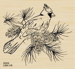 Cardinal on Branch Rubber Stamp by DRS Designs