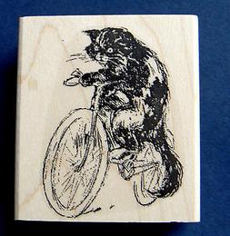 """Cat on bicycle rubber stamp vintage style WM 2x2.25""""  P37"""