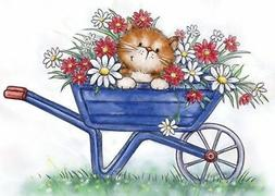 CAT Spring Flower Wheelbarrow Unmounted Rubber Stamp Wild Ro