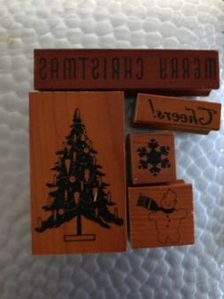 Cavallini & Co. 5 Vintage Christmas Rubber Stamps Assorted N