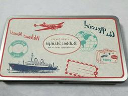 Cavallini & Co. Vintage Travel Rubber Stamps 8 Wooden Stamps