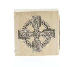 Inkadinkado Celtic Cross with Knot Work Wooden Rubber Stamp