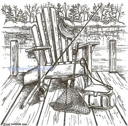 Chair On Dock & Fishing Gear Wood Mounted Rubber Stamp NORTH