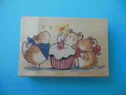 Penny Black Cheesecake Party Mice Birthday Rubber Stamp