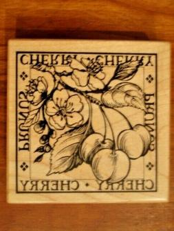 CHERRIES PRUNES Botanical Rubber Stamp by PSX No. G-1286  Wo