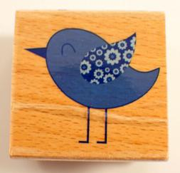 Chic Chick Blue Bird Owl Hampton Art Studio G Wooden Rubber