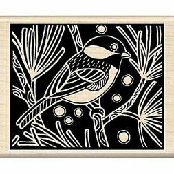 Inkadinkado Chickadee Woodcut Wood Stamp
