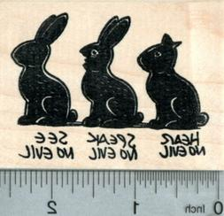Chocolate Easter Bunny Rubber Stamp, Hear, Speak, See no Evi