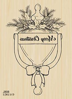 Christmas Door Knocker Rubber Stamp by DRS Designs Rubber St